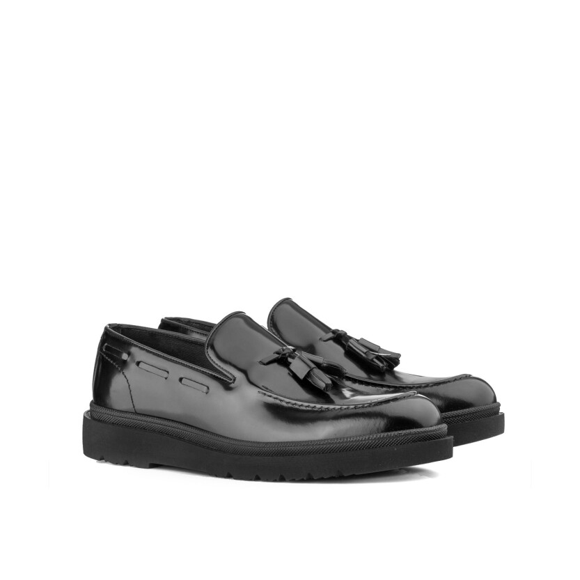 Slip-on-Schuhe für Herren Luigi Lackleder Schwarz