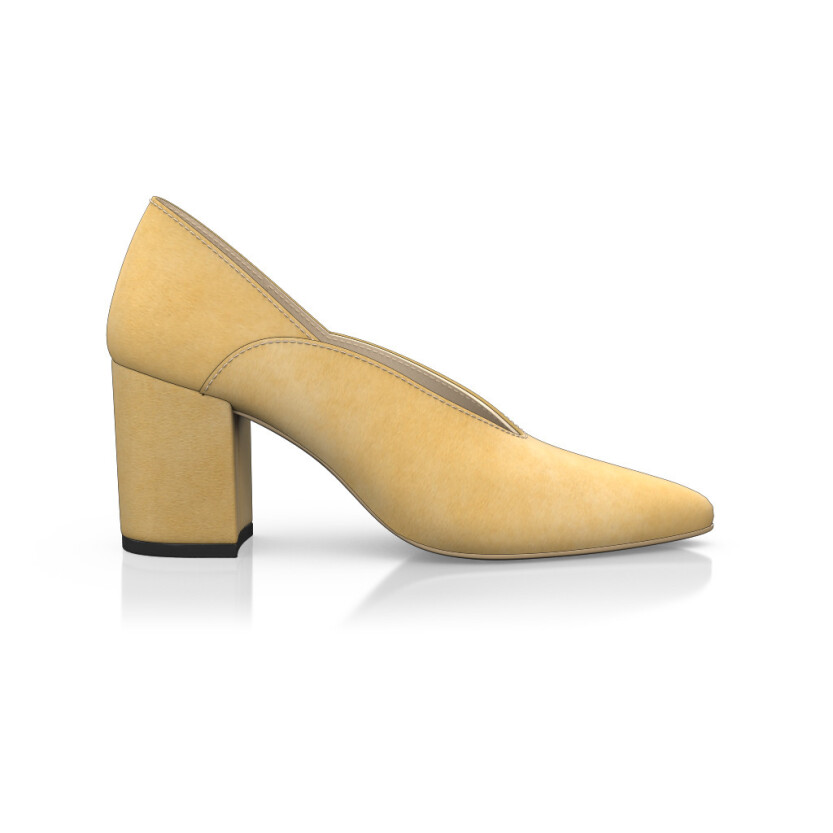 Block Heel Pointed Toe Schuhe 6543