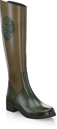 Flache Stiefel STIEFEL DAMENSCHUHE DESIGNER NEU Gr 39 Schwarz 0693
