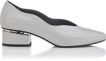 Blockabsatz Schuhe mit Karee-Spitze Carina Lackleder Grau