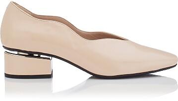 Blockabsatz Schuhe mit Karee-Spitze Carina Lackleder - Beige