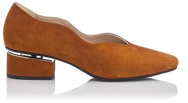 Blockabsatz Schuhe mit Karee-Spitze Carina Veloursleder  - Taba