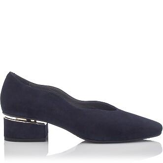 Blockabsatz Schuhe mit Karee-Spitze Carina Veloursleder - Ozeanien