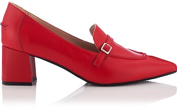 Block Heel Pointed Toe Schuhe Grazia - Rot
