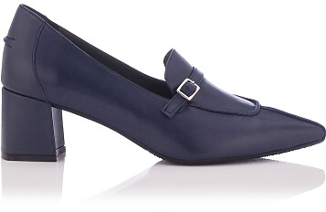 Block Heel Pointed Toe Schuhe Grazia - Tiefer Blau