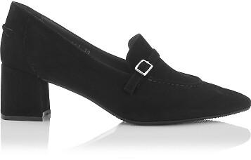 Block Heel Pointed Toe Schuhe Grazia Veloursleder - Schwarz