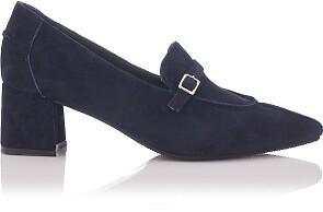 Block Heel Pointed Toe Schuhe Grazia Veloursleder - Tiefer Blau