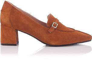 Block Heel Pointed Toe Schuhe Grazia Veloursleder - Taba