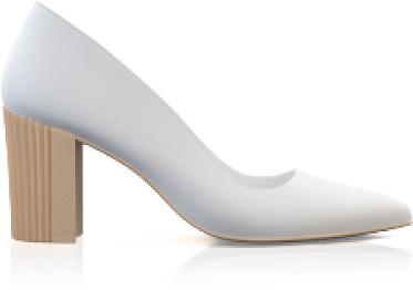 Schuhe mit Blockabsatz im Metallic-Look