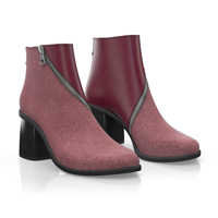CHERRY HEELED ANKLE BOOTS