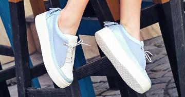 Blue platform sneakers