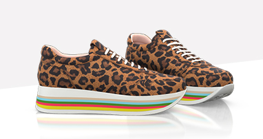 Leopard sneakers with rainbow sole