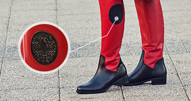 Red boots with black detail