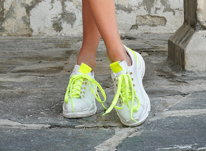 neon yellow and white sneakers