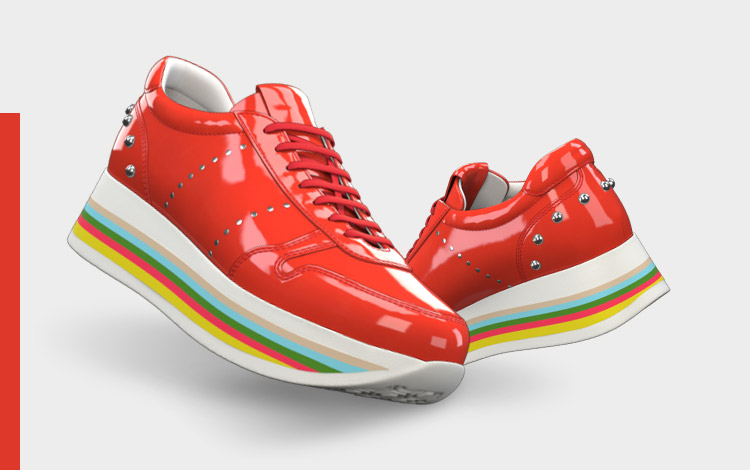 Red rainbow sneakers