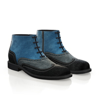 MEN`S BROGUE ANKLE BOOTS BLUE
