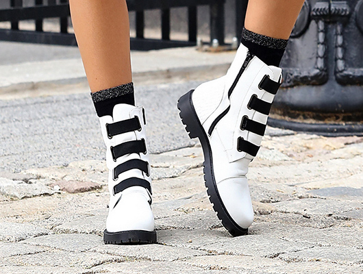 combat boots white